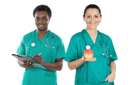 Medical team on a over white background photo
