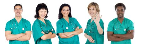 Medical team on a over white background Stock Photo