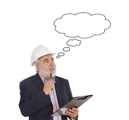 arquitecto caricatura: Ingeniero tomando notas sobre un fondo blanco Foto de archivo