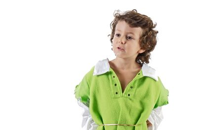 Beautiful child dressed as Robin Hood on a over white background photo