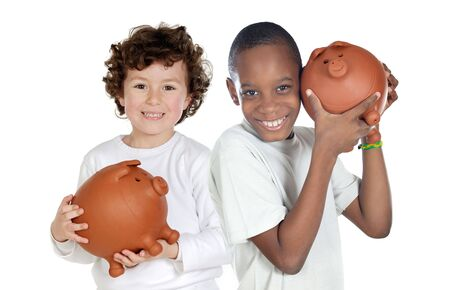Two happy children with moneybox savings isolated over white photo