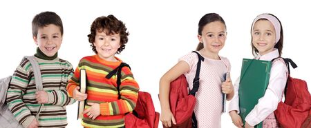 returning: Four children students returning to school on a white background