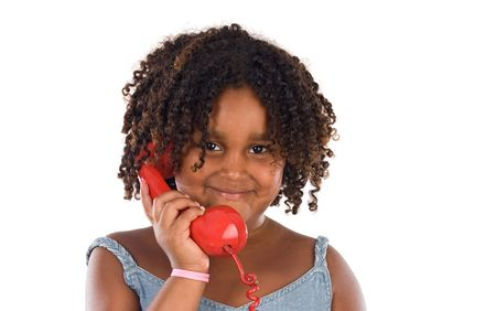 Pretty girl with red phone a over white background Stock Photo - 4665782