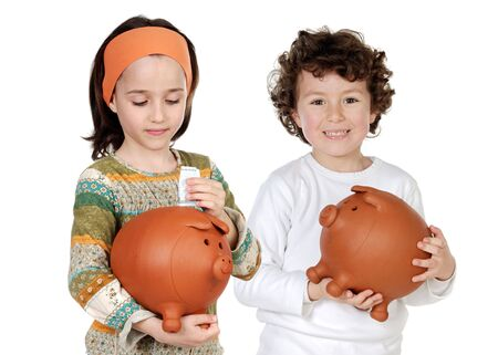 moneybox: Two happy children with moneybox savings isolated over white