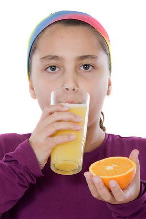 Linda chica tomando un jugo de naranja sobre un fondo blanco sobre Foto de archivo - 4705608