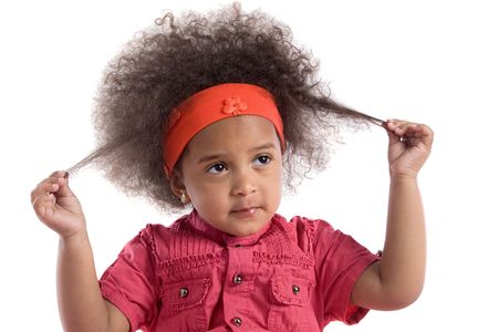 Adorable african baby with afro hairstyle isolated over white Stock Photo