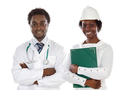 Couple of african americans doctor and engineer a over white background photo