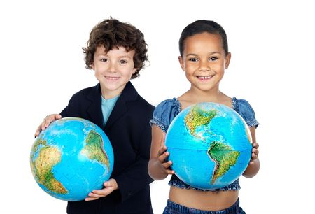 Two happy children learning geography isolated over white photo