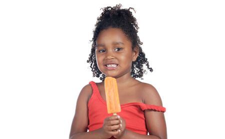Little girl eating ice cream orange a over white background photo