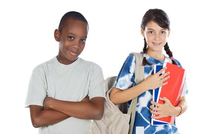 returning: Two children students returning to school on a white background