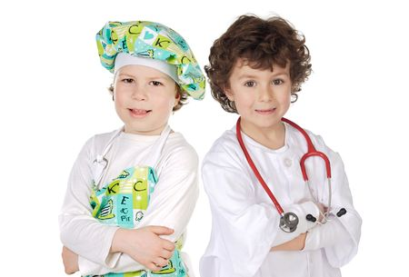 Little doctor and cook on a over white background Stock Photo - 4705818