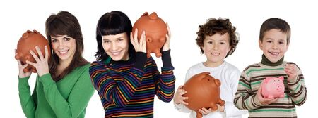Two children and two teenagers with the savings isolated over white