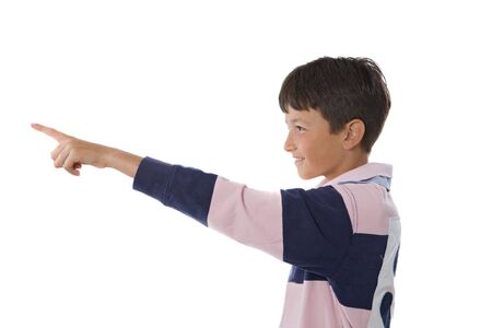 male profile: Happy boy pointing with her finger on a white background