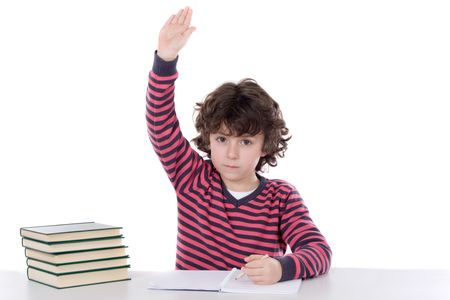raise hand: Adorable boy studying a over white background ask to speak isolated over white