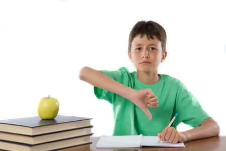 thumb down: Unhappy student in class on a over white background