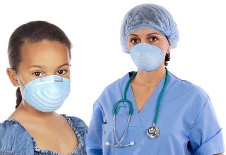 Pretty girl and doctor women with protective mask on her face isolated on white photo