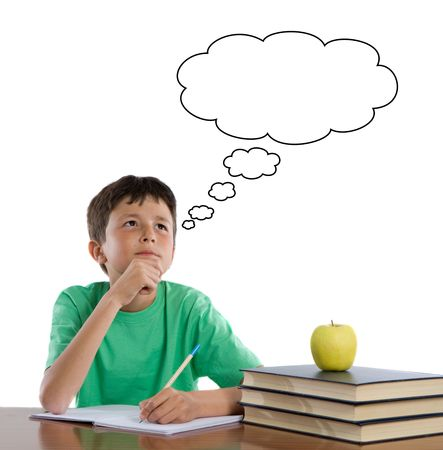 writting: Adorable student thinking on a over white background