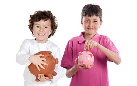 Two happy children with moneybox savings isolated over white Stock Photo - 4791407