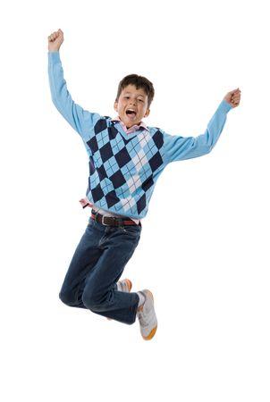 personas saltando: Adorable ni�o saltando sobre un fondo blanco Foto de archivo