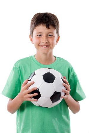 kids  soccer: adorable boy with ball a over white background