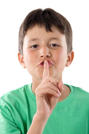 Adorable child ordering silence on a over white background