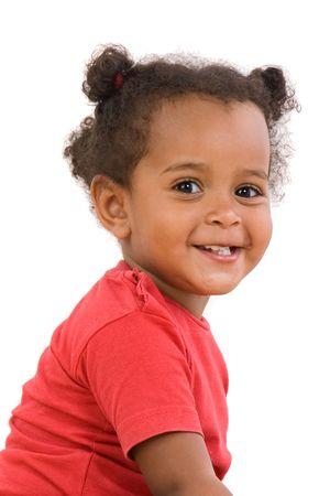 乳幼児: 愛らしいアフリカ赤ちゃんはオーバー ホワイト バック グラウンド