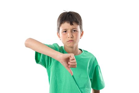 dissenting: Angry boy dissenting on a white background Stock Photo