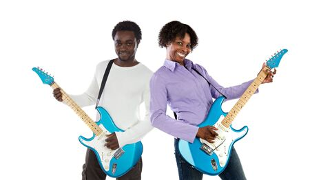 Couple with electrical guitar a over white background photo