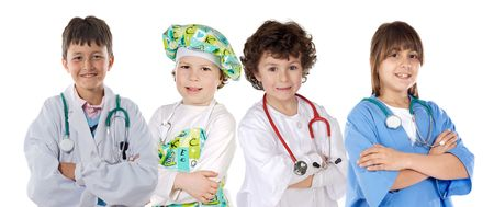 Four future workers on a over white background photo