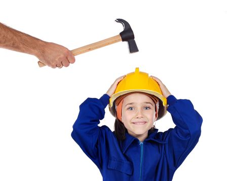 inspector kid: Small worker with a hammer and helmet on her head