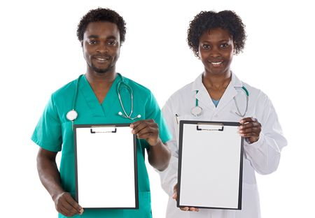 Medical team whit clipboard on a over white background photo