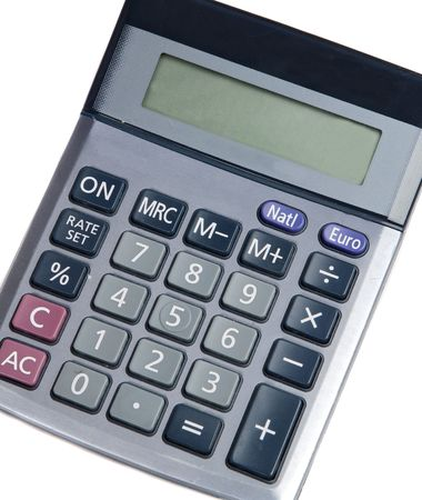 subtraction: Photo of one calculator on a over white background