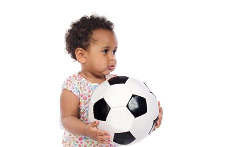 Baby with soccer ball a over white background photo