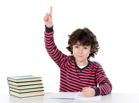 Adorable boy studying a over white background ask to speak isolated over white Stock Photo - 5015633
