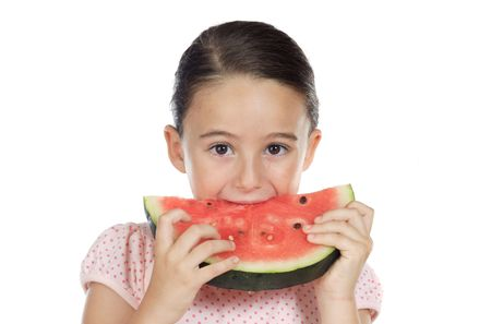 over eating: adorable girl eating watermelon a over white background