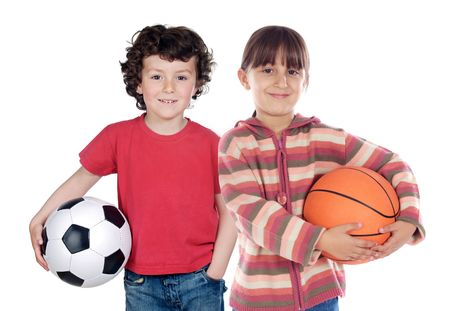 Two adorable children with balls on a over white background