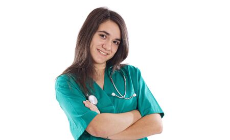 female doctor with a stethoscope over white background photo