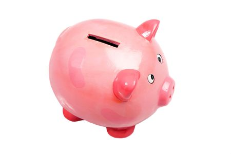 Pink money box a over white background photo