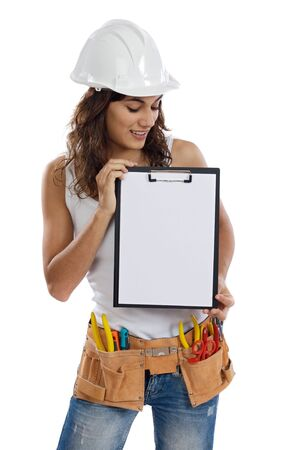 Young Girl with tools for building and a empty poster Stock Photo - 5038092