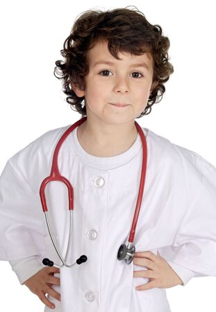 Adorable future doctor a over white background photo