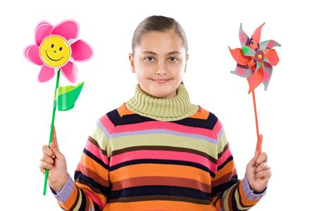 Girl with two windmill in her hands Stock Photo - 5065882