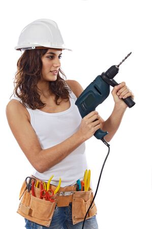 Young Girl with tools for building on a white background