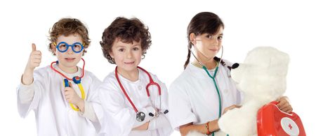 Little girl doctor a over white background photo