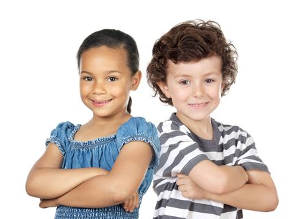 mixed ethnicities: Two children of different races isolated over white