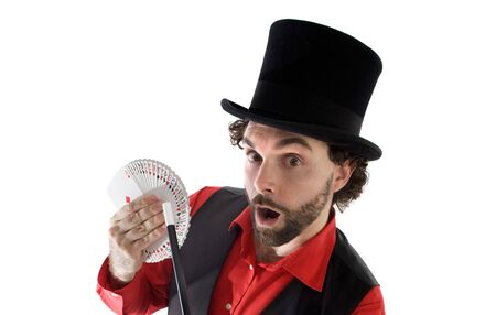 surprised magician doing a trick of letters photo