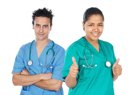 ttractive: Couple of doctors a over white background