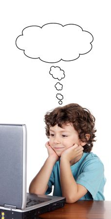 Child whit laptop a over white background