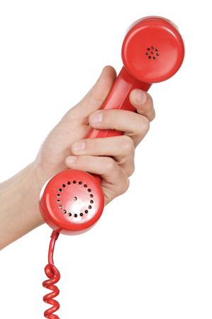 hand holding red telephone a over white background photo