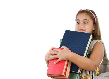 educational material: Busy student with many books and backpack on a white background