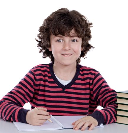 Adorable boy studying a over white background Stock Photo - 5385306